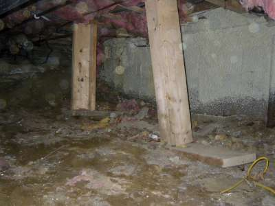 Unstable support, no vapor barrier in a crawlspace.