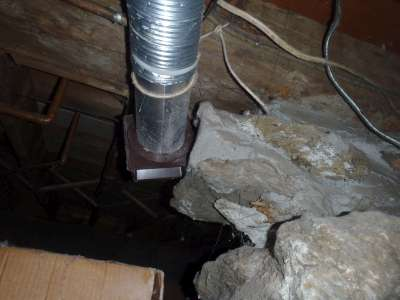 Dryer venting into the crawlspace.