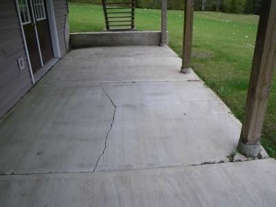 Cracked slab patio area.