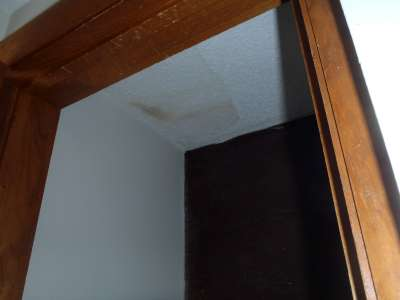 Water stain in closet ceiling.