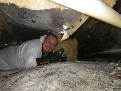 AJ in the crawlspace